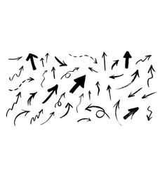 set hand drawn grunge arrows vector image