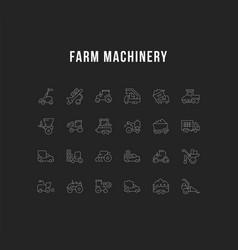 set line icons farm machinery vector image