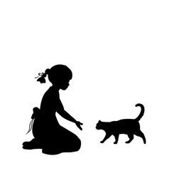 silhouette girl sitting knees beckon cat vector image