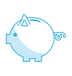 Silhouette nice pig to save coin currency vector