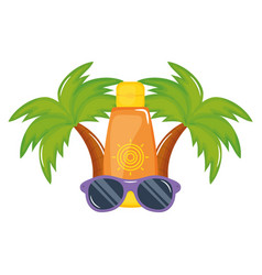Solar blocker bottle with sunglasses accessory vector