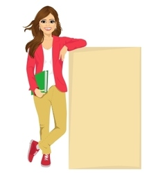 student girl leaning against a blank board vector image