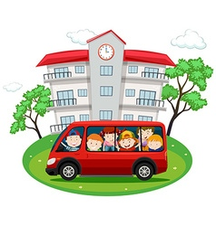 Students riding on red van to school vector