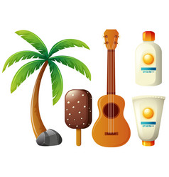 summer set with coconut tree and guitar vector image