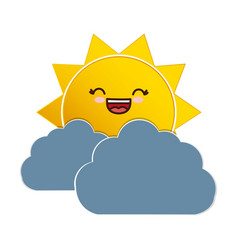 Sun and cloud icon vector
