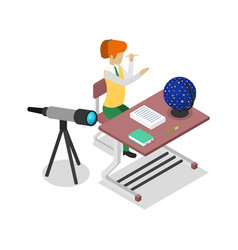 Teacher teaching astronomy isometric 3d icon vector