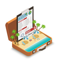 Travel insurance policy isometric composition vector