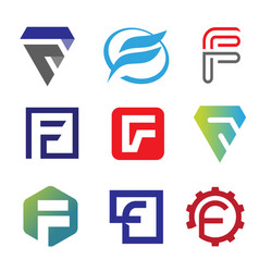 unique letter f creative logo set vector image
