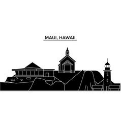 Usa maui hawaii architecture city skyline vector