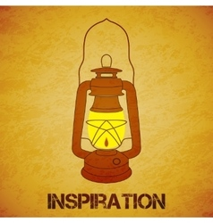 Vintage mine kerosene lantern over yellow grunge vector