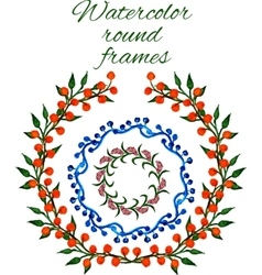 watercolor floral round frames vector image
