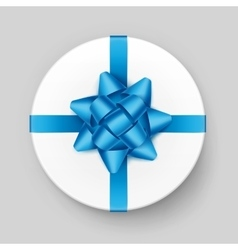 White Box with Blue Azure Bow and Ribbon Top View vector