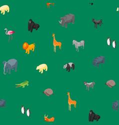 wild animals 3d seamless pattern background vector image