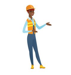 Young african-american happy builder gesturing vector