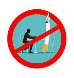 forbidden to smoke in cafes ban smoking red sign vector image