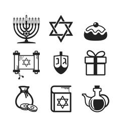 Hanukkah icons set vector image