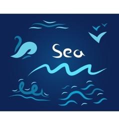 night set the wave sea vector image vector image