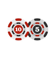 poker chips nominal five and ten icon flat style vector image vector image