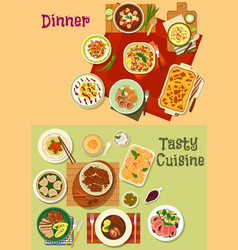 restaurant dinner dishes icon for menu design vector image vector image