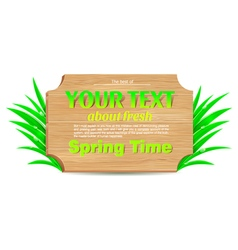 Wooden banner freshness of spring vector image vector image