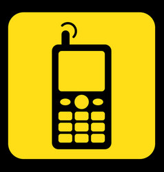 yellow black sign - old mobile phone with antenna vector image vector image