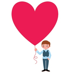 Young man gives a Valentine a heart vector image