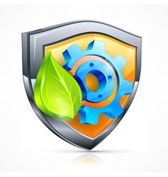 Shield with gear leaf vector image vector image
