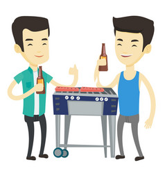 asian friends having fun at barbecue party vector image vector image