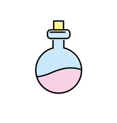 erlenmeyer flak with chemical potion experiment vector image vector image