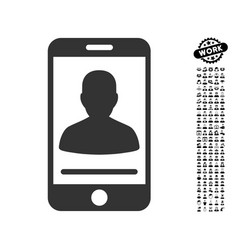 Mobile contact icon with work bonus vector
