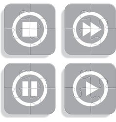 Set of different puzzle media icons vector image