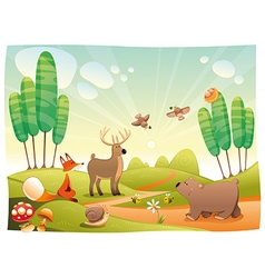 Animals in the wood vector image