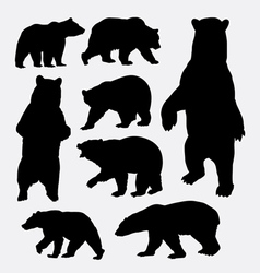 Bear wild animal silhouettes vector image vector image
