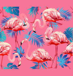 flamingo bird and tropical flowers background - vector image