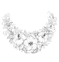 Hibiscus wreath isolated on white background vector image