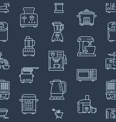 Kitchen small appliances equipment seamless vector