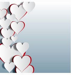 red and white heart cutout on a gradient vector image vector image