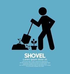 Shovel And Gardener Symbol vector image vector image