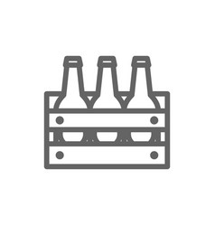 simple beer bottles in basket line icon symbol vector image