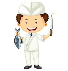 Sushi chef with sharp knife and fish vector image vector image