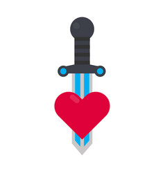 tattoo decorative element with heart and sword vector image vector image