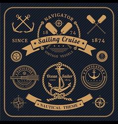 Vintage nautical labels set on dark bcakground vector image vector image