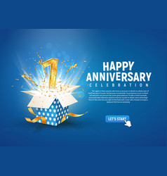 1 st year anniversary banner with open burst gift vector