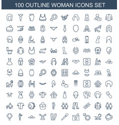 100 woman icons vector