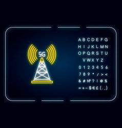 5g cell tower neon light icon wireless technology vector