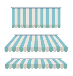 A set of striped awnings canopies for the store vector