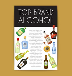 alccohol banner wine list template for bar or vector image