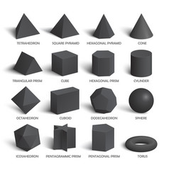 all basic 3d shapes template in dark vector image