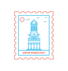Antim monastery postage stamp blue and red line vector