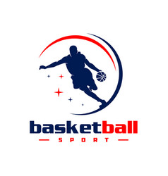 basketball sports logo design vector image